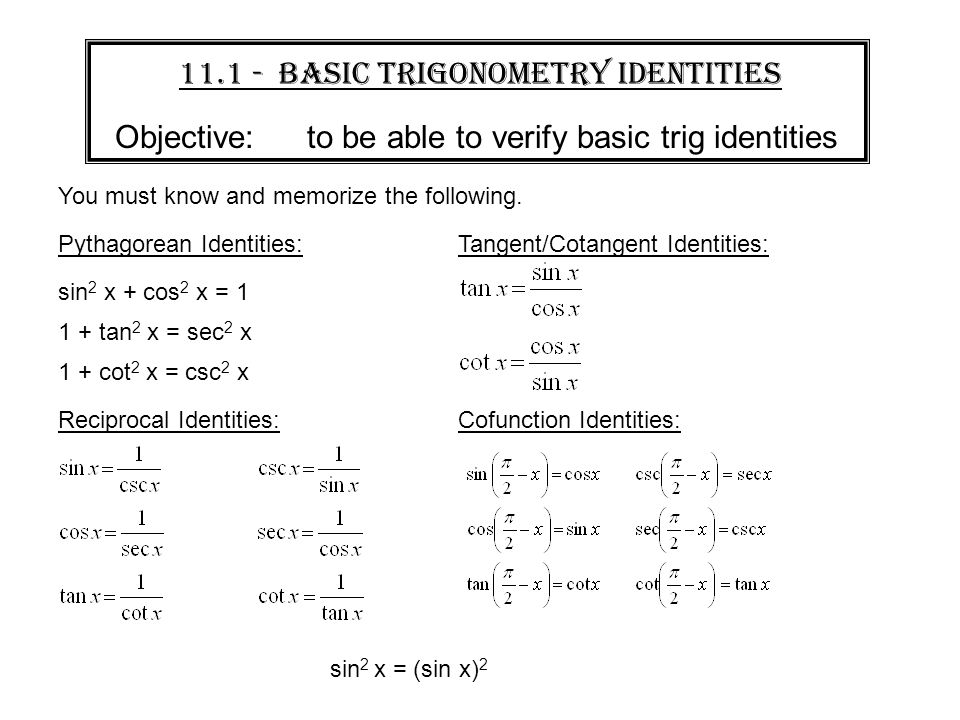 WARMUP Prove sin 2 x cos 2 x 1 This is one of 3 Pythagorean – Trig Identities Worksheet