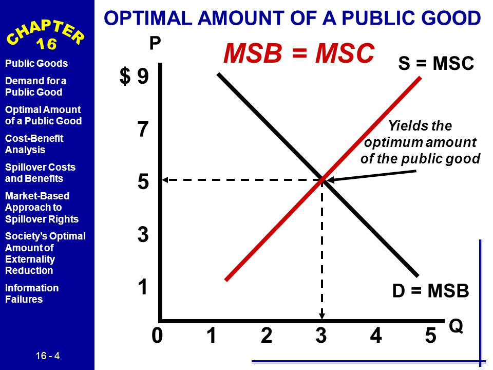 16 - 4 Public Goods Demand for a Public Good Optimal Amount of a Public Good Cost-Benefit Analysis Spillover Costs and Benefits Market-Based Approach to Spillover Rights Society's Optimal Amount of Externality Reduction Information Failures P Q $ 9 7 5 3 1 0 1 2 3 4 5 D = MSB S = MSC OPTIMAL AMOUNT OF A PUBLIC GOOD Yields the optimum amount of the public good MSB = MSC