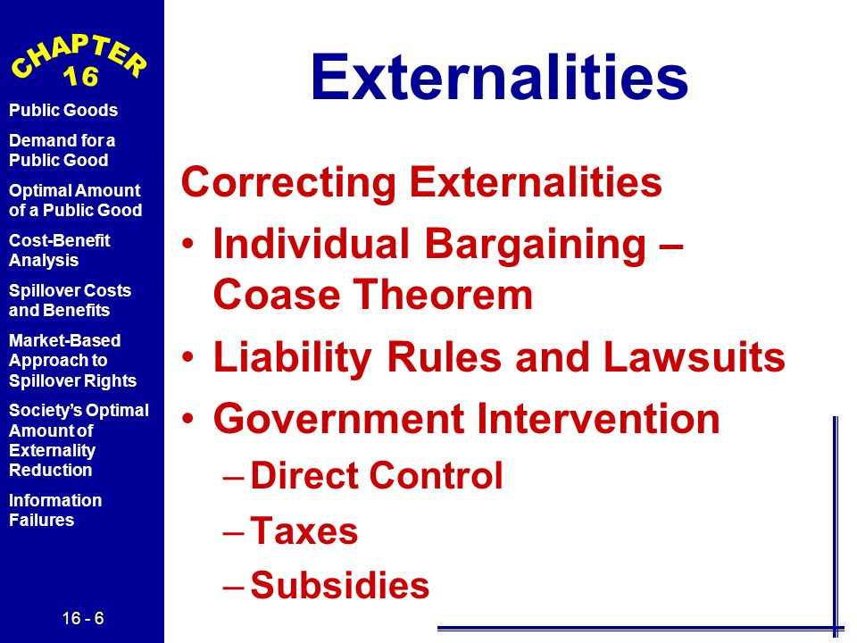 16 - 6 Public Goods Demand for a Public Good Optimal Amount of a Public Good Cost-Benefit Analysis Spillover Costs and Benefits Market-Based Approach to Spillover Rights Society's Optimal Amount of Externality Reduction Information Failures Externalities Correcting Externalities Individual Bargaining – Coase Theorem Liability Rules and Lawsuits Government Intervention –Direct Control –Taxes –Subsidies