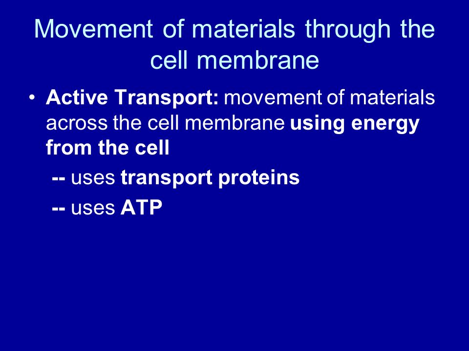 Movement of materials through the cell membrane Passive Transport ...