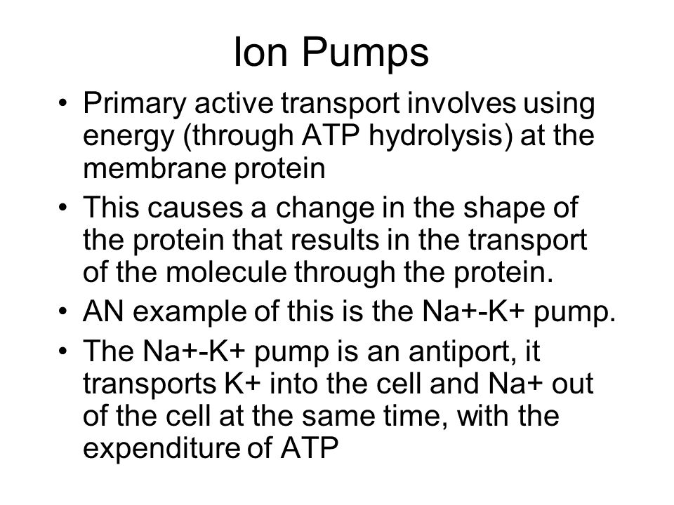 Ion Pumps Primary active transport involves using energy (through ATP hydrolysis) at the membrane protein This causes a change in the shape of the protein that results in the transport of the molecule through the protein.