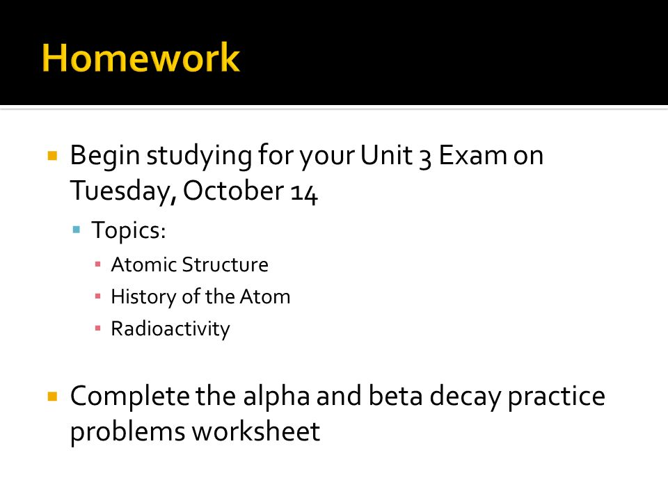 Informal assessment monitoring student questions and – Alpha and Beta Decay Worksheet