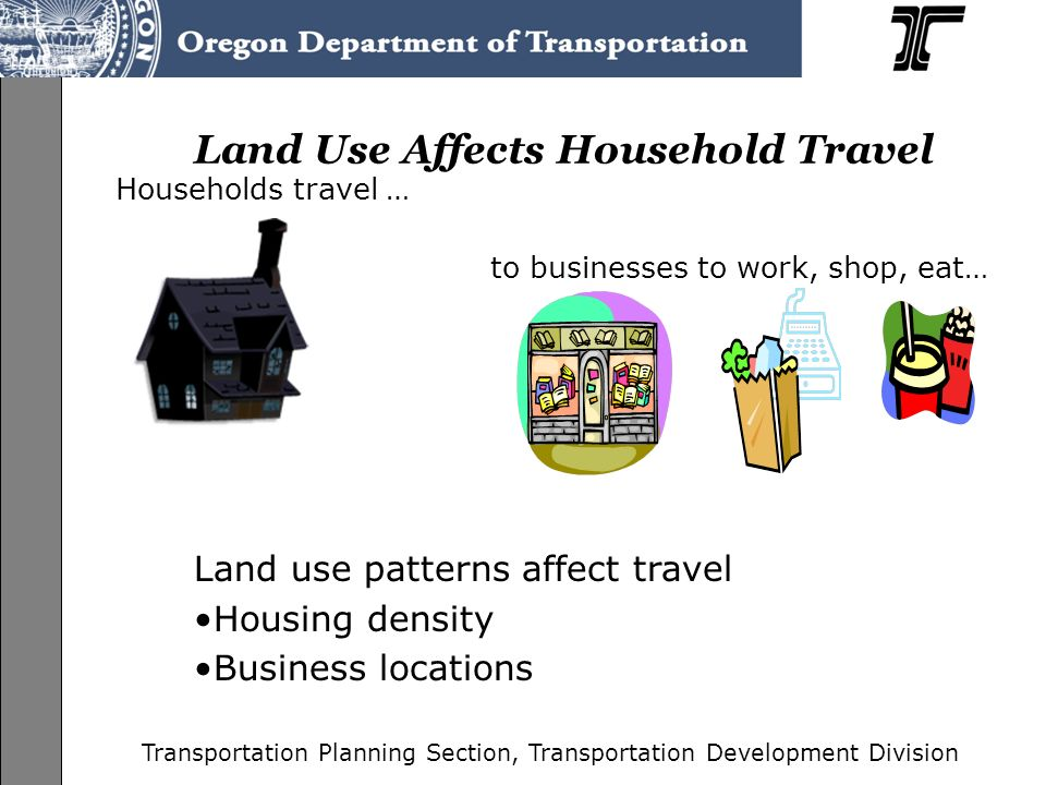 Transportation Planning Section, Transportation Development Division Household Activity Can be Simulated Household surveys provide information used to create models representing regional travel patterns –Oregon Household Activity Survey 2008 Travel demand models and traffic simulations are tools designed to represent household travel behavior –THE MODELS WORK.