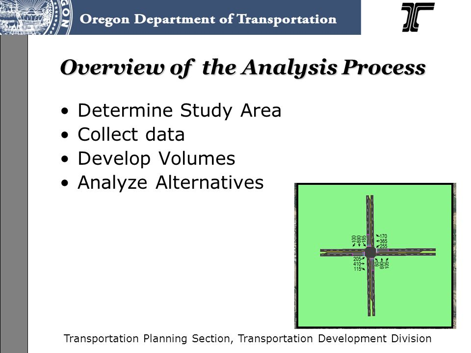 Transportation Planning Section, Transportation Development Division ODOT Responsibility to Maintain State-Owned Facilities-cont' Move goods and people efficiently Consider all modes: auto, bicycle, pedestrian, rail, ect Improve livability to communities Support for economic prosperity and opportunities