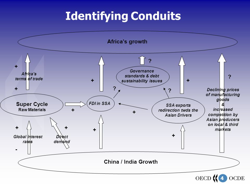 4 Identifying Conduits Super Cycle Raw Materials China / India Growth Africa s terms of trade + Declining prices of manufacturing goods & increased competition by Asian producers on local & third markets Africa s growth FDI in SSA Global interest rates SSA exports redirection twds the Asian Drivers + - + + + + Governance standards & debt sustainability issues .