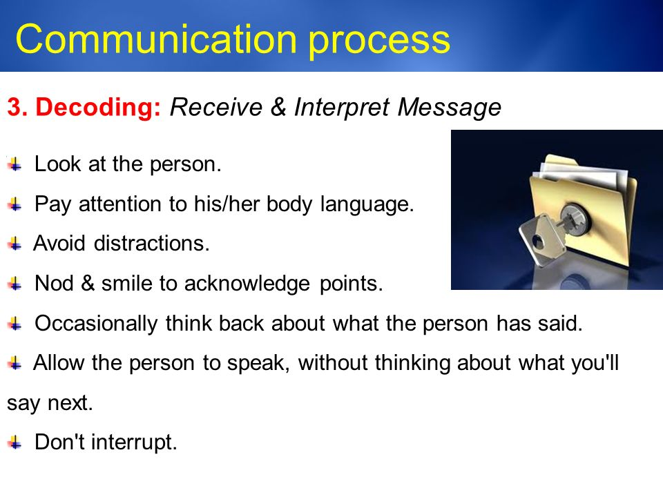 Medic-Unity ® Communication process 23 3. Decoding: Receive & Interpret Message Look at the person.