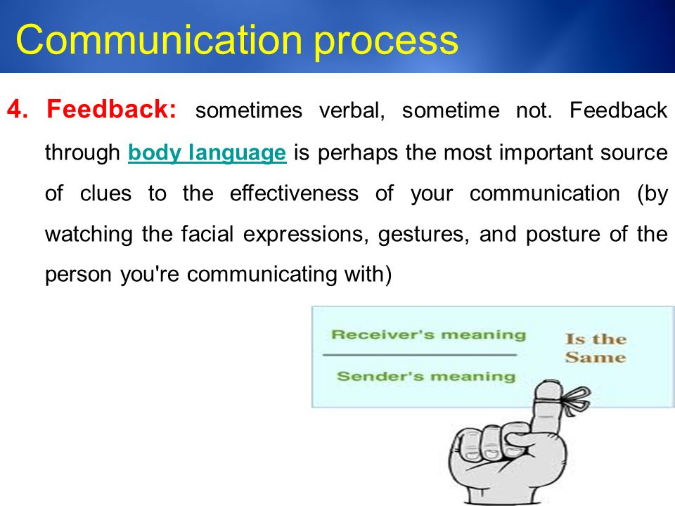 Medic-Unity ® Communication process 23 4. Feedback: sometimes verbal, sometime not.