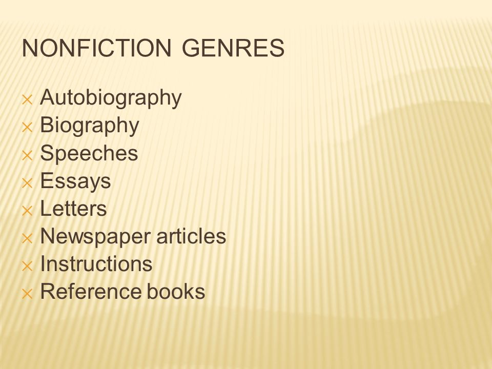 essay genres types Classification/division:genres of music over the years there have been numerous types of music that all encompass different this is a really good essay.