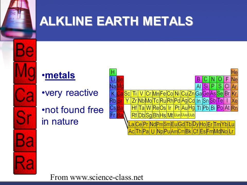 metals very reactive not found free in nature ALKLINE EARTH METALS From