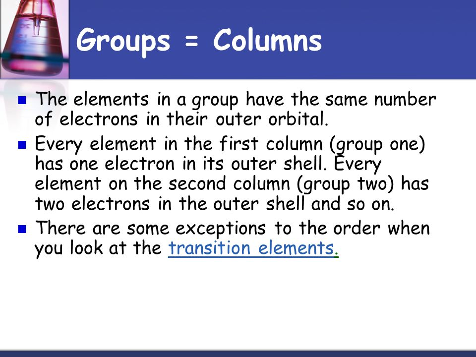 Groups = Columns The elements in a group have the same number of electrons in their outer orbital.