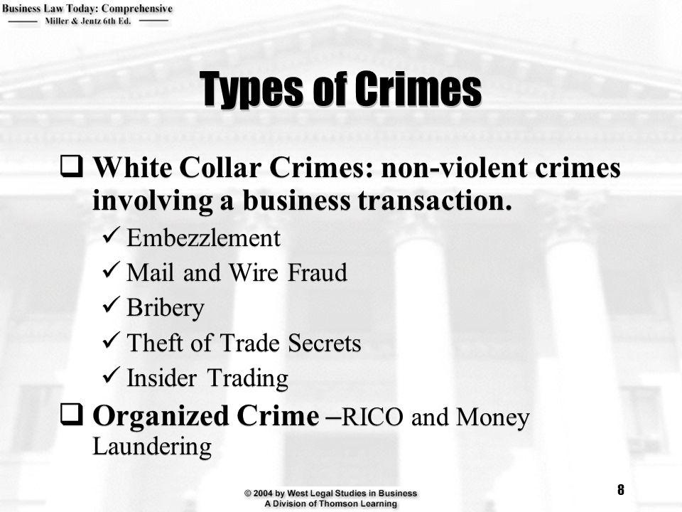 8 Types of Crimes  White Collar Crimes: non-violent crimes involving a business transaction.