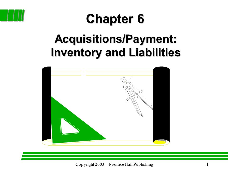 Copyright 2003 Prentice Hall Publishing1 Acquisitions/Payment: Inventory and Liabilities Chapter 6