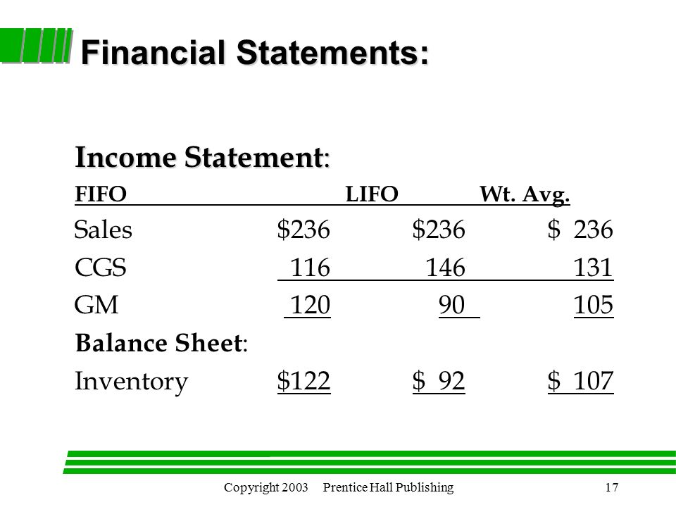 Copyright 2003 Prentice Hall Publishing17 Income Statement : FIFOLIFOWt.