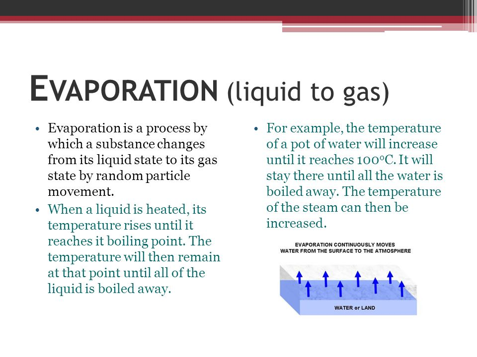 E VAPORATION (liquid to gas) Evaporation is a process by which a substance changes from its liquid state to its gas state by random particle movement.