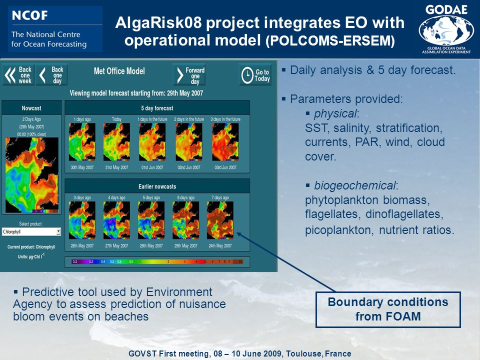 GOVST First meeting, 08 – 10 June 2009, Toulouse, France AlgaRisk08 project integrates EO with operational model (POLCOMS-ERSEM)  Predictive tool used by Environment Agency to assess prediction of nuisance bloom events on beaches  Daily analysis & 5 day forecast.