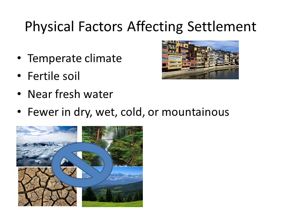 Physical Factors Affecting Settlement Temperate climate Fertile soil Near fresh water Fewer in dry, wet, cold, or mountainous