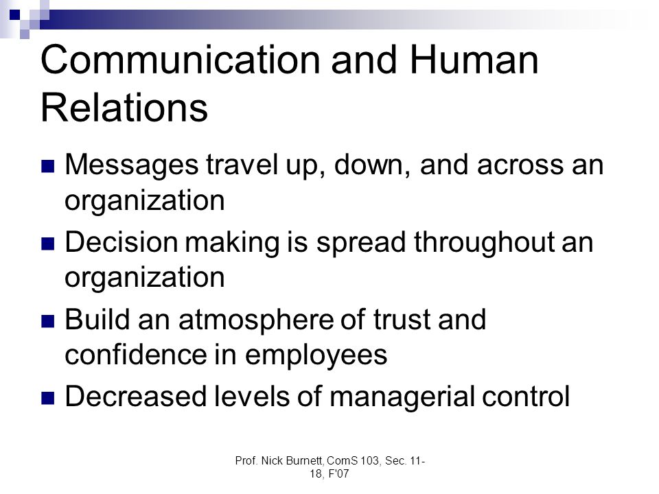 Prof. Nick Burnett, ComS 103, Sec. 11- 18, F'07 Communication and Human Relations Messages travel up, down, and across an organization Decision making