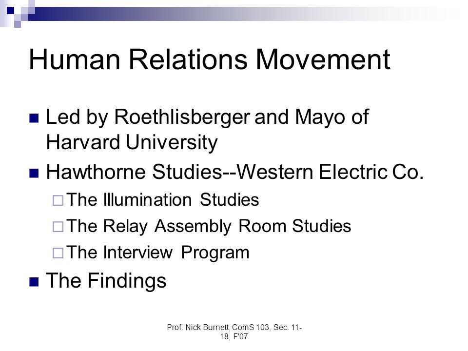 Prof. Nick Burnett, ComS 103, Sec. 11- 18, F'07 Human Relations Movement Led by Roethlisberger and Mayo of Harvard University Hawthorne Studies--Weste