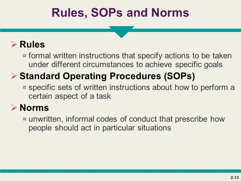 2-13 Rules, SOPs and Norms  Rules ≈ formal written instructions that specify actions to be taken under different circumstances to achieve specific goals  Standard Operating Procedures (SOPs) ≈ specific sets of written instructions about how to perform a certain aspect of a task  Norms ≈ unwritten, informal codes of conduct that prescribe how people should act in particular situations