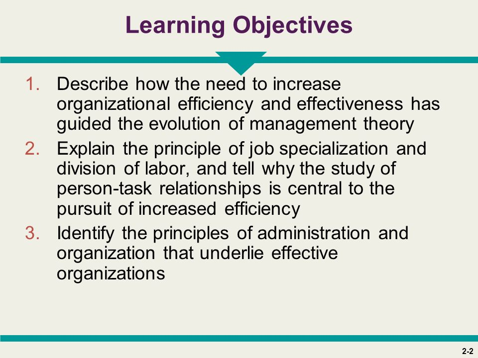 2-2 Learning Objectives 1.Describe how the need to increase organizational efficiency and effectiveness has guided the evolution of management theory 2.Explain the principle of job specialization and division of labor, and tell why the study of person-task relationships is central to the pursuit of increased efficiency 3.Identify the principles of administration and organization that underlie effective organizations