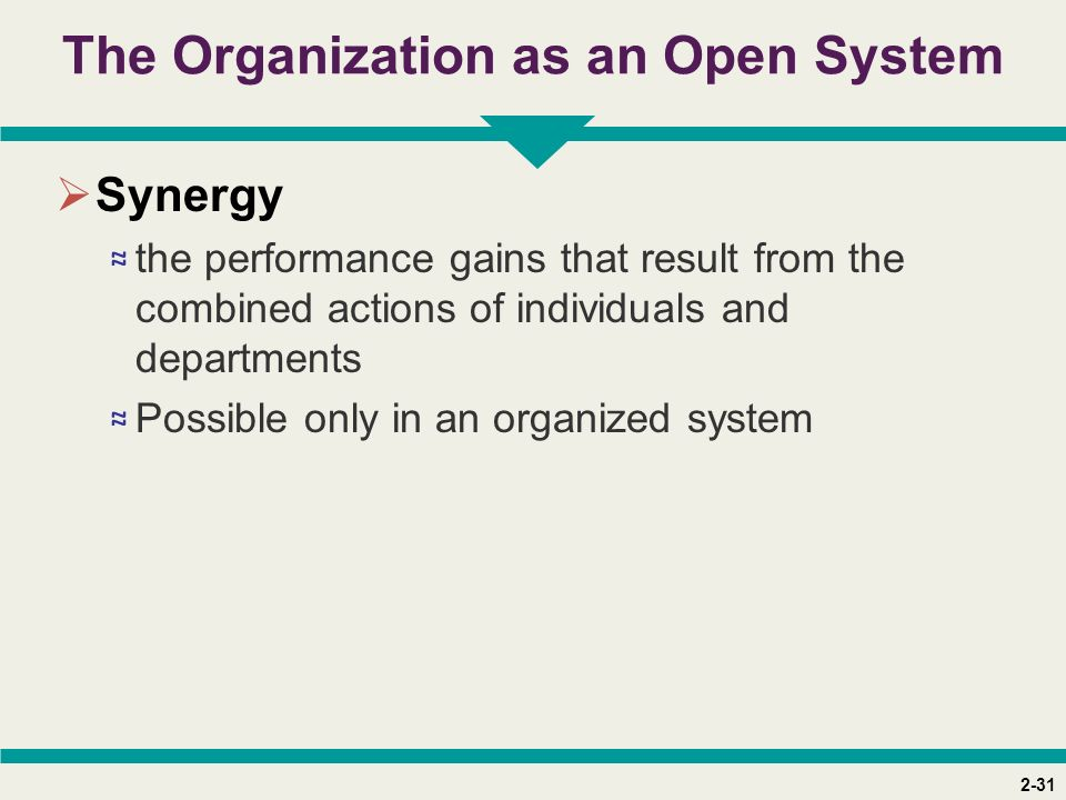 2-31 The Organization as an Open System  Synergy ≈ the performance gains that result from the combined actions of individuals and departments ≈ Possible only in an organized system