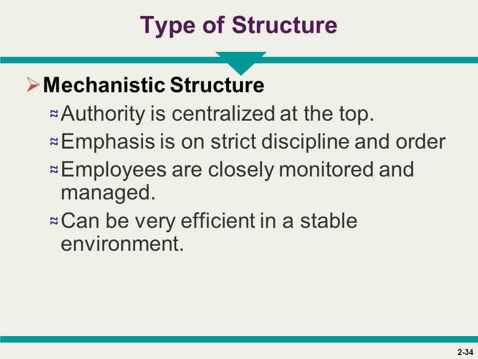 2-34 Type of Structure  Mechanistic Structure ≈ Authority is centralized at the top.