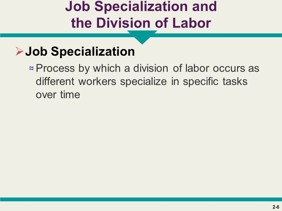 2-6 Job Specialization and the Division of Labor  Job Specialization ≈ Process by which a division of labor occurs as different workers specialize in specific tasks over time