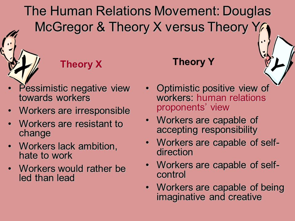 The Human Relations Movement: Douglas McGregor & Theory X versus Theory Y Pessimistic negative view towards workersPessimistic negative view towards workers Workers are irresponsibleWorkers are irresponsible Workers are resistant to changeWorkers are resistant to change Workers lack ambition, hate to workWorkers lack ambition, hate to work Workers would rather be led than leadWorkers would rather be led than lead Optimistic positive view of workers: human relations proponents' viewOptimistic positive view of workers: human relations proponents' view Workers are capable of accepting responsibilityWorkers are capable of accepting responsibility Workers are capable of self- directionWorkers are capable of self- direction Workers are capable of self- controlWorkers are capable of self- control Workers are capable of being imaginative and creativeWorkers are capable of being imaginative and creative Theory X Y Theory Y