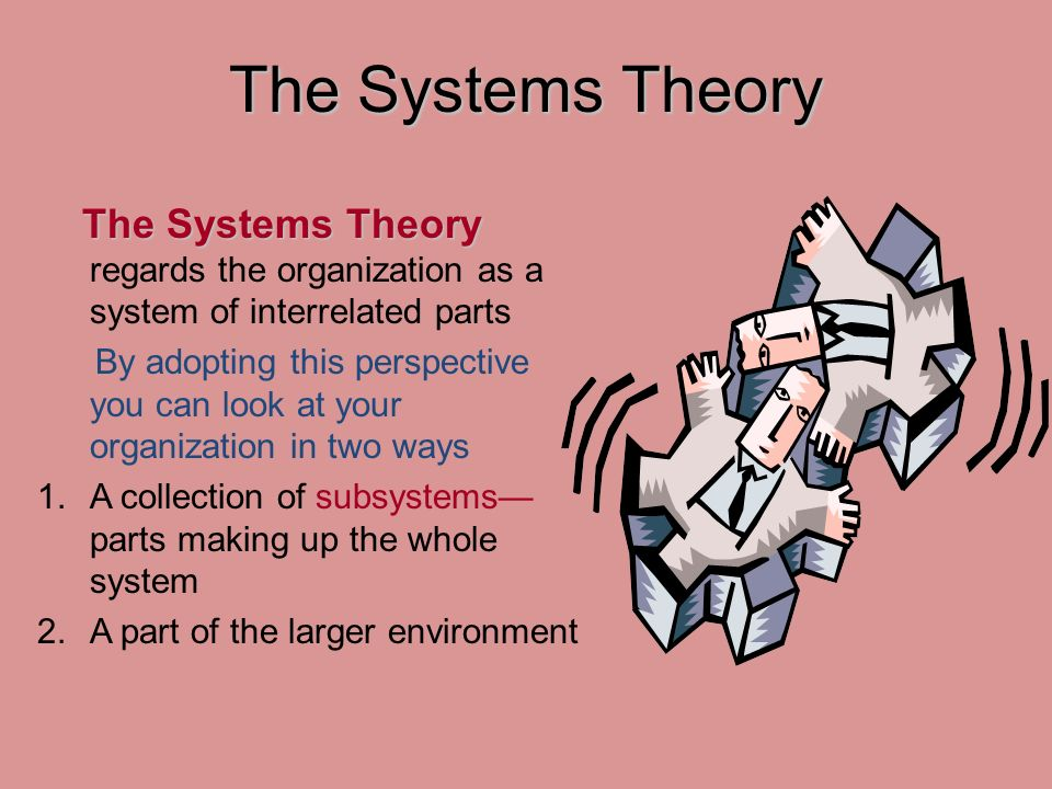 The Systems Theory The Systems Theory The Systems Theory regards the organization as a system of interrelated parts By adopting this perspective you can look at your organization in two ways 1.A collection of subsystems— parts making up the whole system 2.A part of the larger environment