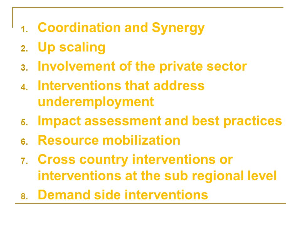 1. Coordination and Synergy 2. Up scaling 3. Involvement of the private sector 4.
