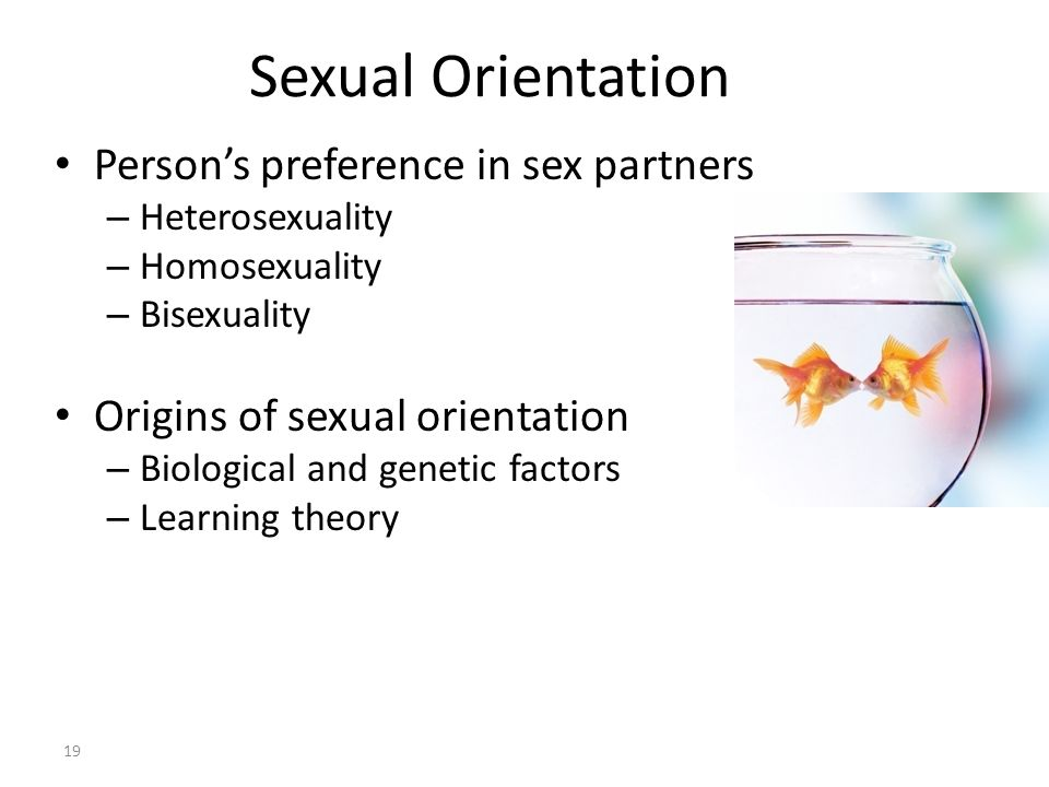 Sexual Orientation 19 Person's preference in sex partners – Heterosexuality – Homosexuality – Bisexuality Origins of sexual orientation – Biological a