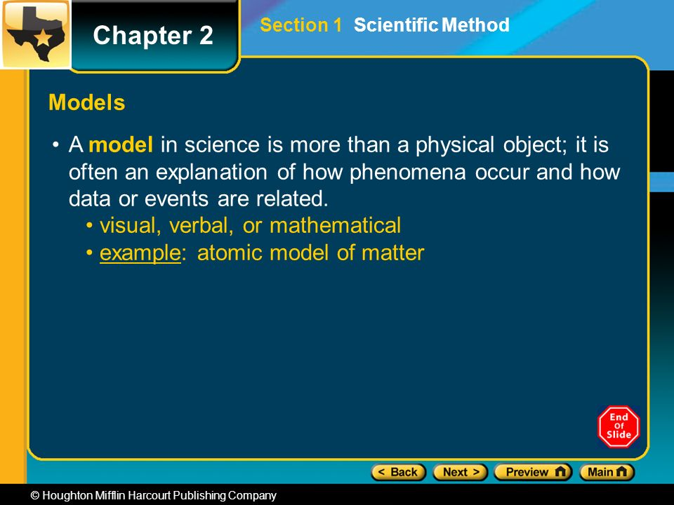 Chapter 2 © Houghton Mifflin Harcourt Publishing Company Section 1 Scientific Method Models A model in science is more than a physical object; it is often an explanation of how phenomena occur and how data or events are related.