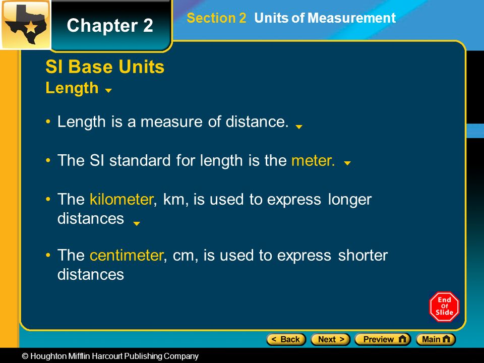 Chapter 2 © Houghton Mifflin Harcourt Publishing Company SI Base Units Length Length is a measure of distance.