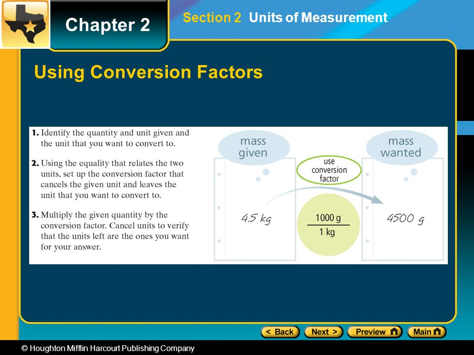 Chapter 2 © Houghton Mifflin Harcourt Publishing Company Using Conversion Factors Section 2 Units of Measurement