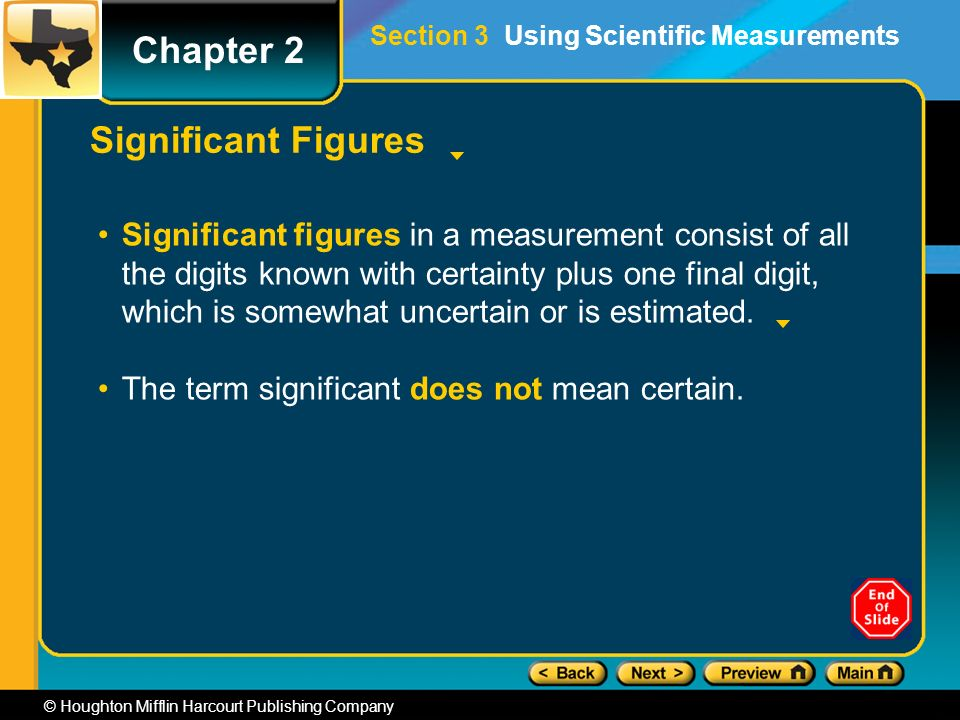 Chapter 2 © Houghton Mifflin Harcourt Publishing Company Significant Figures Significant figures in a measurement consist of all the digits known with certainty plus one final digit, which is somewhat uncertain or is estimated.
