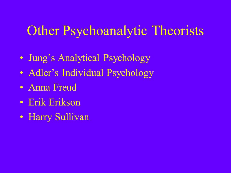 Other Psychoanalytic Theorists Jung's Analytical Psychology Adler's Individual Psychology Anna Freud Erik Erikson Harry Sullivan