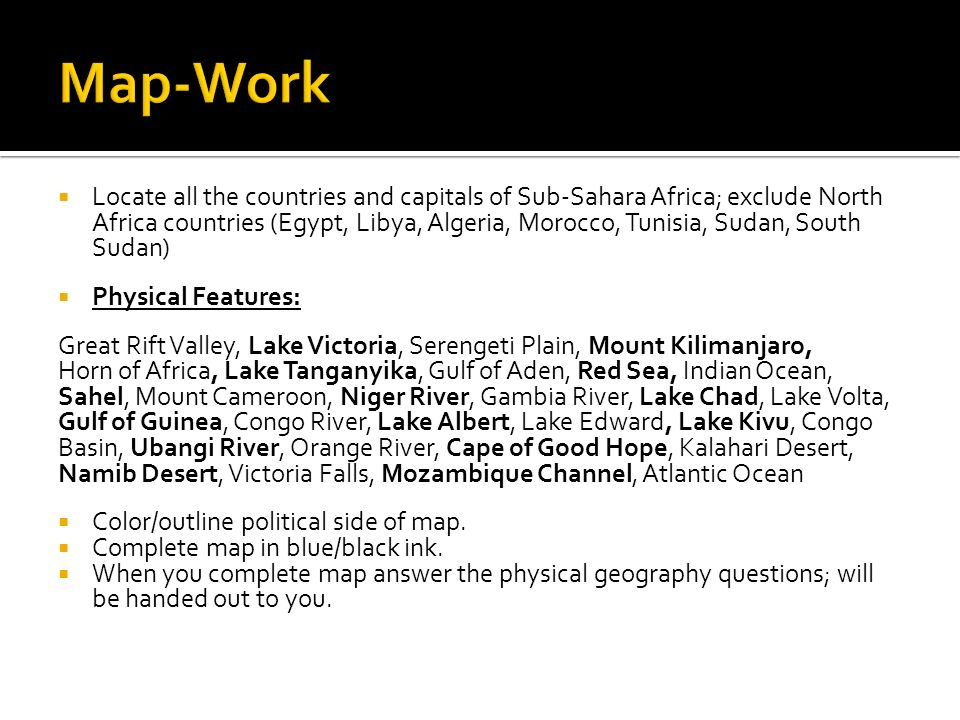 Locate All The Countries And Capitals Of SubSahara Africa - Map of egypt libya and sudan