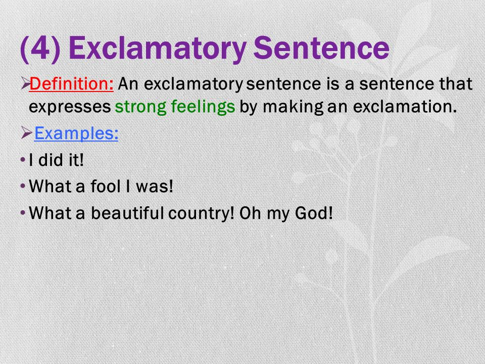 (4) Exclamatory Sentence  Definition: An exclamatory sentence is a sentence that expresses strong feelings by making an exclamation.