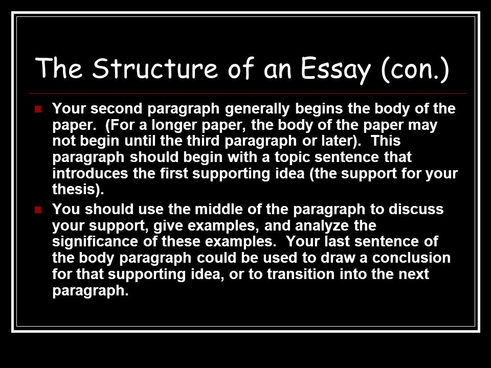 the structure of an essay plan