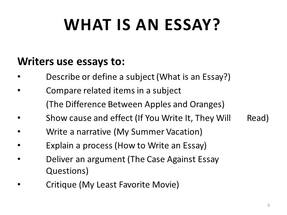 types of essays lecture recap i what is an outline a  6 writers