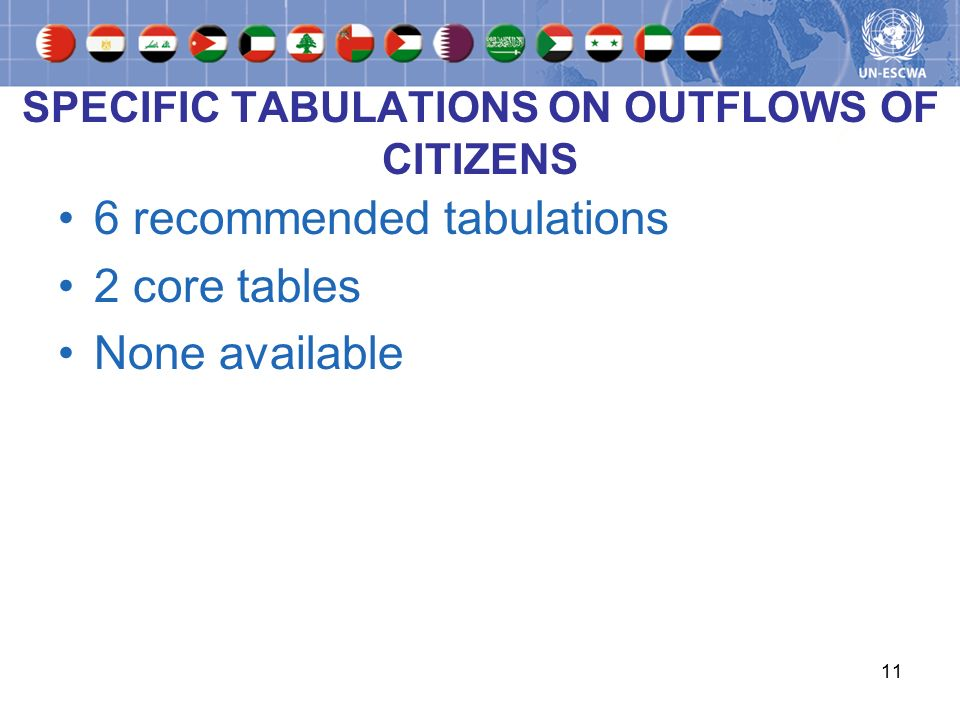 11 SPECIFIC TABULATIONS ON OUTFLOWS OF CITIZENS 6 recommended tabulations 2 core tables None available
