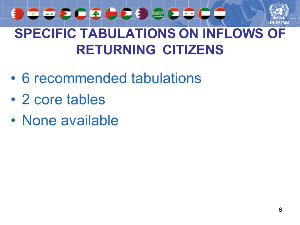 6 SPECIFIC TABULATIONS ON INFLOWS OF RETURNING CITIZENS 6 recommended tabulations 2 core tables None available