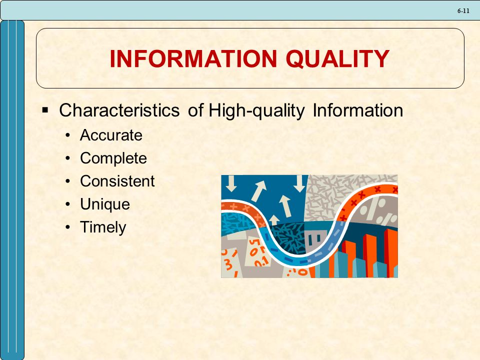 6-11 INFORMATION QUALITY  Characteristics of High-quality Information Accurate Complete Consistent Unique Timely