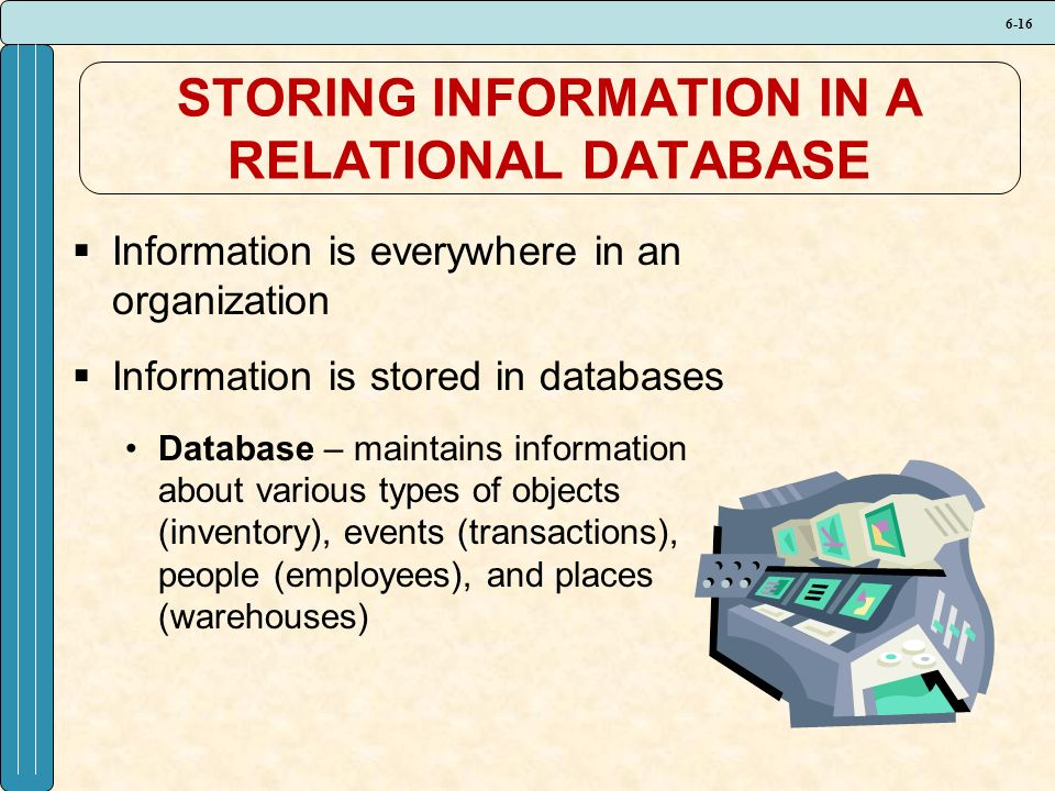 6-16 STORING INFORMATION IN A RELATIONAL DATABASE  Information is everywhere in an organization  Information is stored in databases Database – maintains information about various types of objects (inventory), events (transactions), people (employees), and places (warehouses)