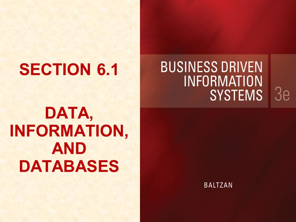 SECTION 6.1 DATA, INFORMATION, AND DATABASES SECTION 6.1 DATA, INFORMATION, AND DATABASES