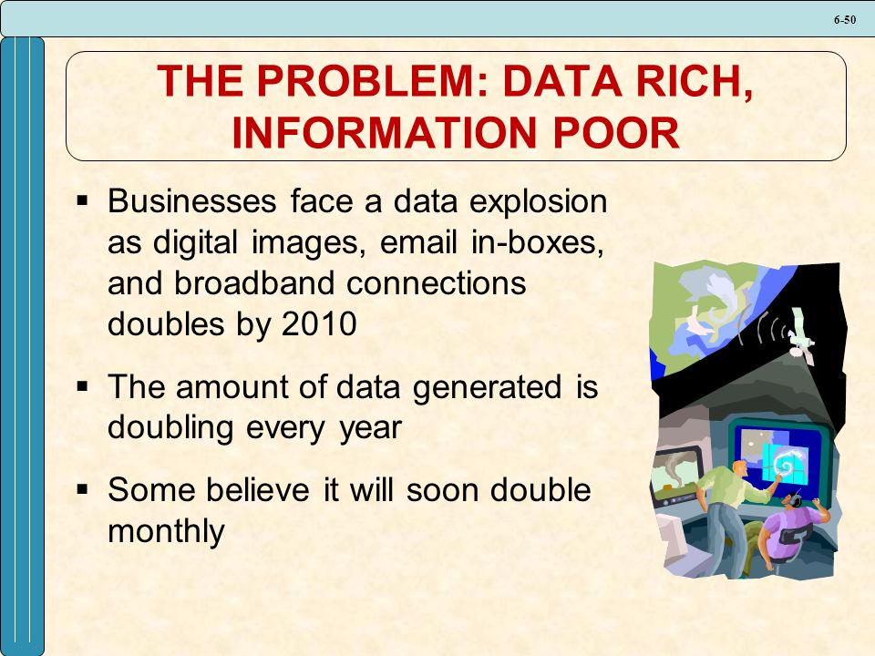 6-50 THE PROBLEM: DATA RICH, INFORMATION POOR  Businesses face a data explosion as digital images, email in-boxes, and broadband connections doubles by 2010  The amount of data generated is doubling every year  Some believe it will soon double monthly