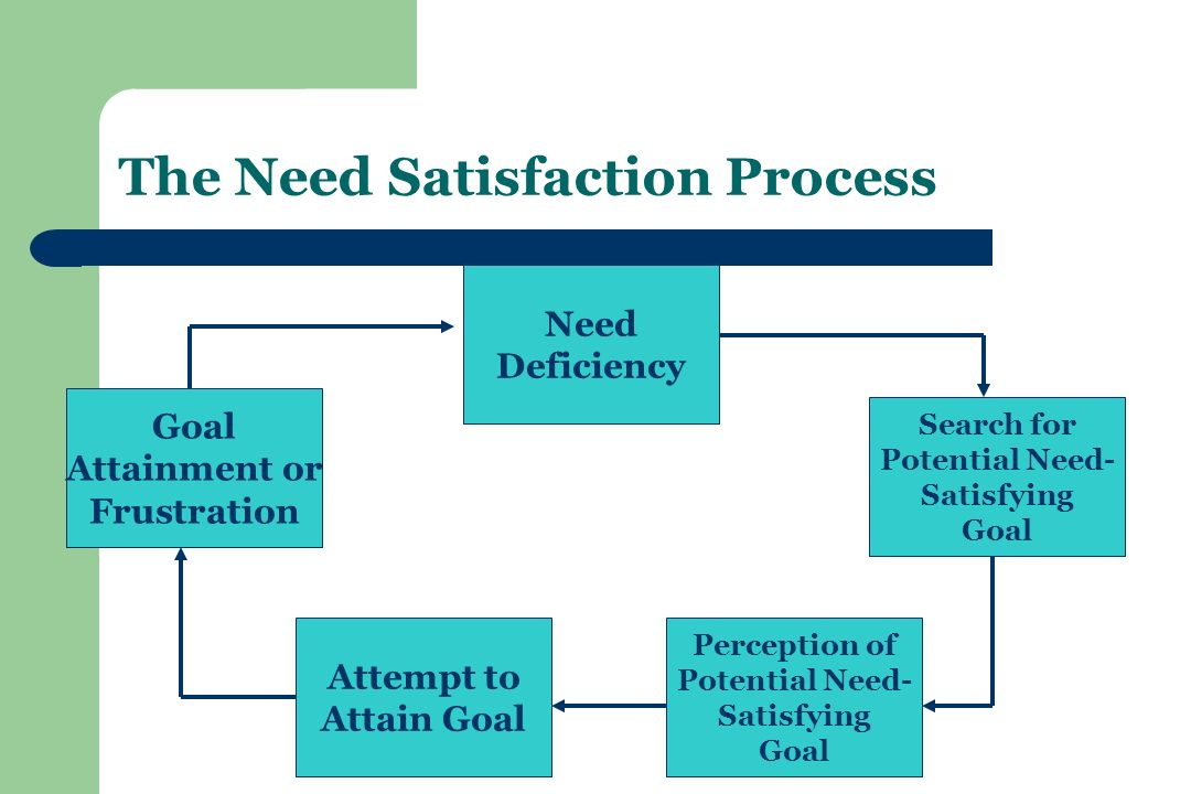The Need Satisfaction Process Need Deficiency Search for Potential Need- Satisfying Goal Perception of Potential Need- Satisfying Goal Attempt to Attain Goal Goal Attainment or Frustration