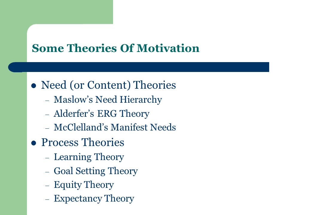 Some Theories Of Motivation Need (or Content) Theories – Maslow's Need Hierarchy – Alderfer's ERG Theory – McClelland's Manifest Needs Process Theories – Learning Theory – Goal Setting Theory – Equity Theory – Expectancy Theory
