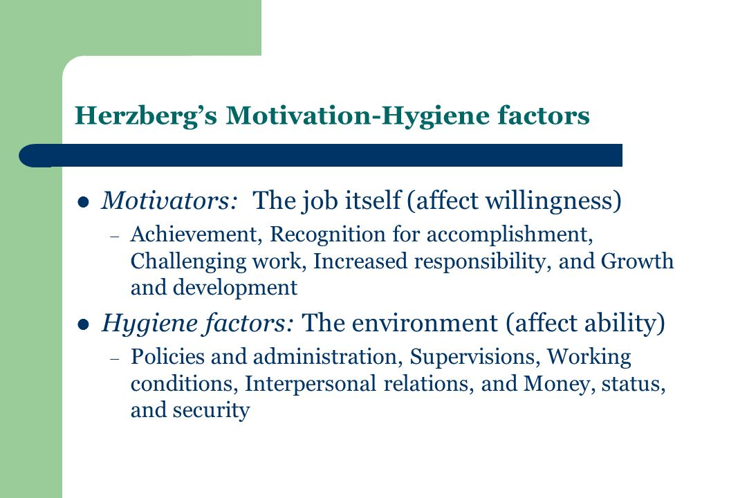 Herzberg's Motivation-Hygiene factors Motivators: The job itself (affect willingness) – Achievement, Recognition for accomplishment, Challenging work, Increased responsibility, and Growth and development Hygiene factors: The environment (affect ability) – Policies and administration, Supervisions, Working conditions, Interpersonal relations, and Money, status, and security