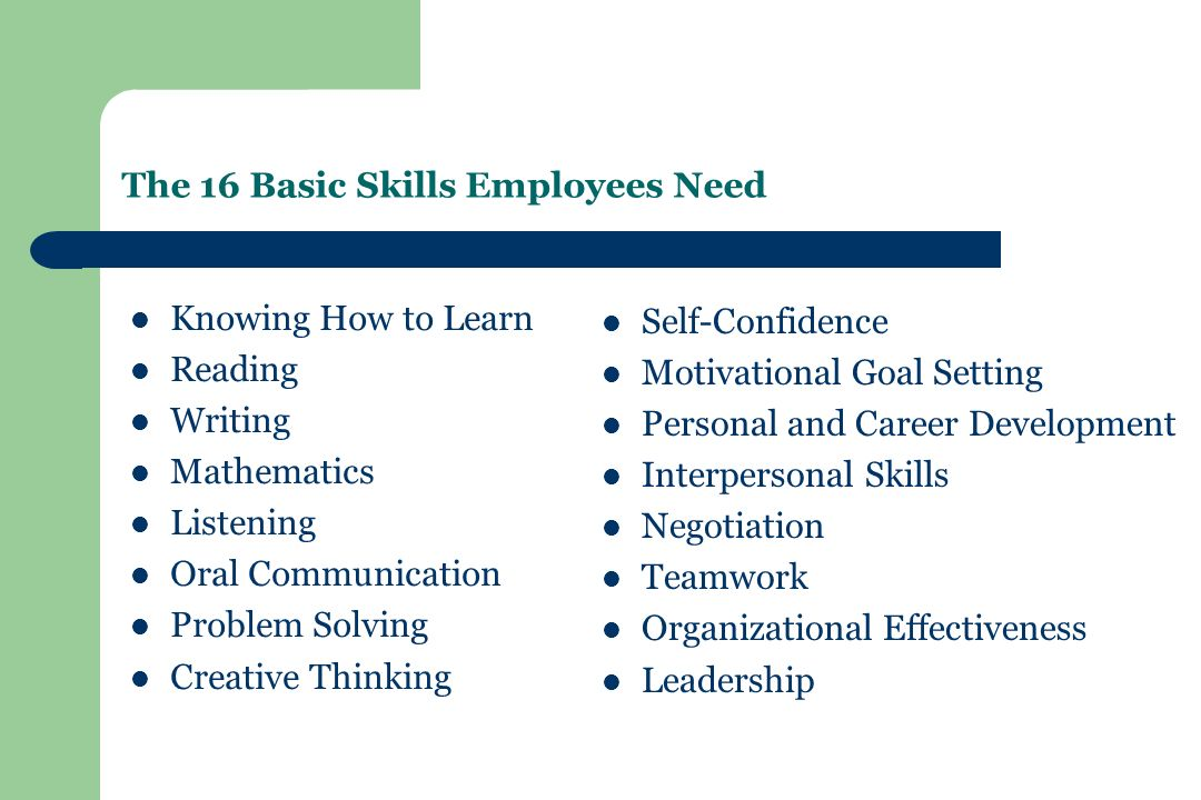 The 16 Basic Skills Employees Need Knowing How to Learn Reading Writing Mathematics Listening Oral Communication Problem Solving Creative Thinking Self-Confidence Motivational Goal Setting Personal and Career Development Interpersonal Skills Negotiation Teamwork Organizational Effectiveness Leadership